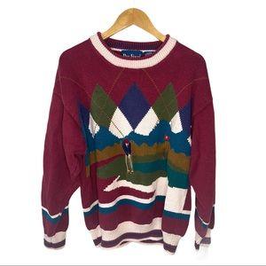 Vintage Mens Sweater XL Golf Long Sleeve Argyle